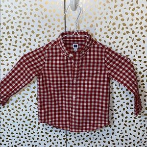 Janie and Jack Holiday Plaid Check Button Down
